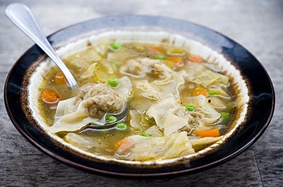 For his belly: Sausage Wontons with Cabbage, Carrot and Pea Soup