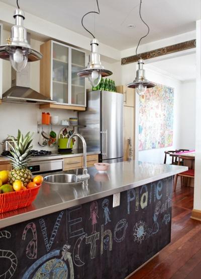 Chalk board kitchen for the home pinterest - Space saving movable kitchen island get efficient kitchen traffic ...