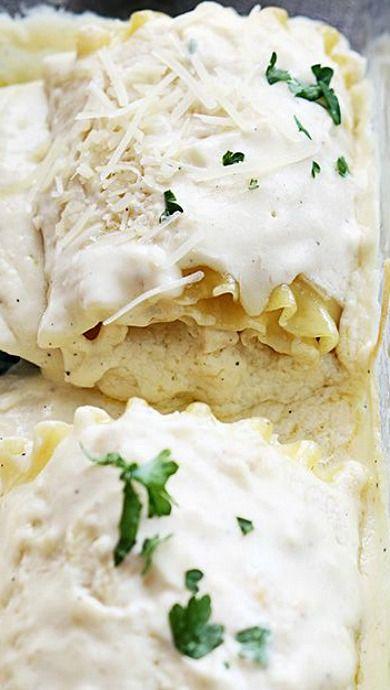 White Chicken Lasagna Roll Ups