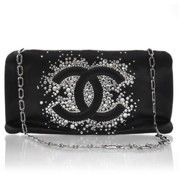 Fashionphile - CHANEL Satin Diamante Evening Clutch Bag Black ❤ liked on Polyvore