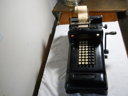 Antique Vintage Hand Operated Burroughs Office Adding Machine