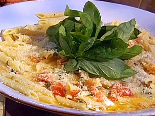 Penne with Fresh Tomatoes, Basil, and Fresh Mozzarella Recipe : Emeril ...
