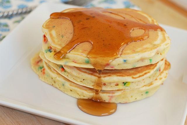 Cake Batter Pancakes!! Best of many worlds....