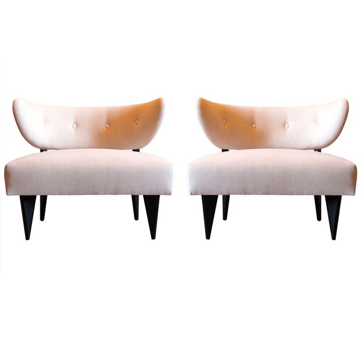Pair of Slipper Chairs with Black Lacquered Legs