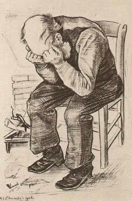"""Vincent van Gogh: The Lithographs (Old Man with his Head in his Hands -- """"At Eternity's Gate"""") 1882"""