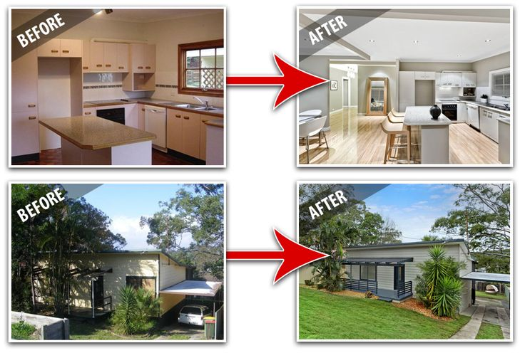 Kitchen and exterior renovations renovations before for Renovated homes before and after photos