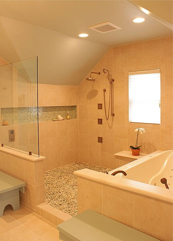 Half Glass Enclosed Shower And Tub Area For The Home Pinterest