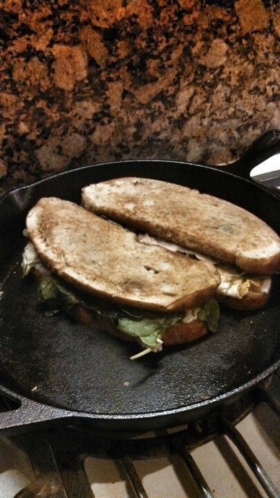 Panini with Turkey egg provolone cheese. Pesto spinach chard and kale ...