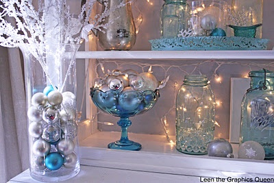 christmas decorating with blue ball jars our home