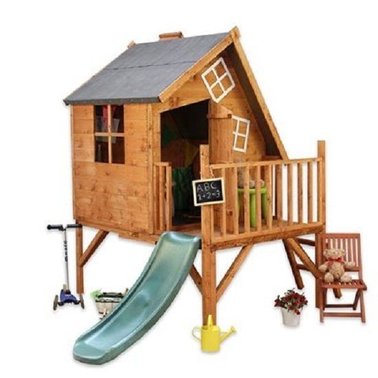 6 x 7 childrens kids child kit wooden cottagetower for Childrens wooden playhouse kits