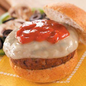 Supreme Pizza Burgers Recipe   Taste of Home Recipes