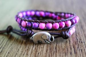 Elephant Bracelet Good Luck Jewelry Leather by theredparachute