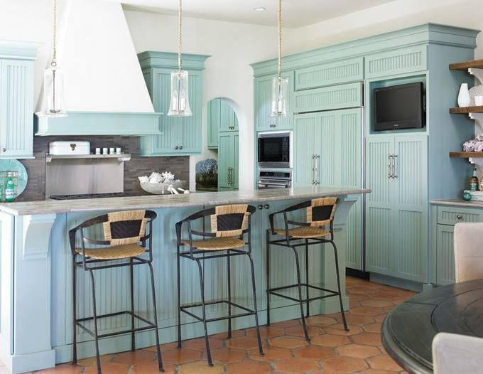 house of turquoise kitchen design  Beaches & Homes by the Sea