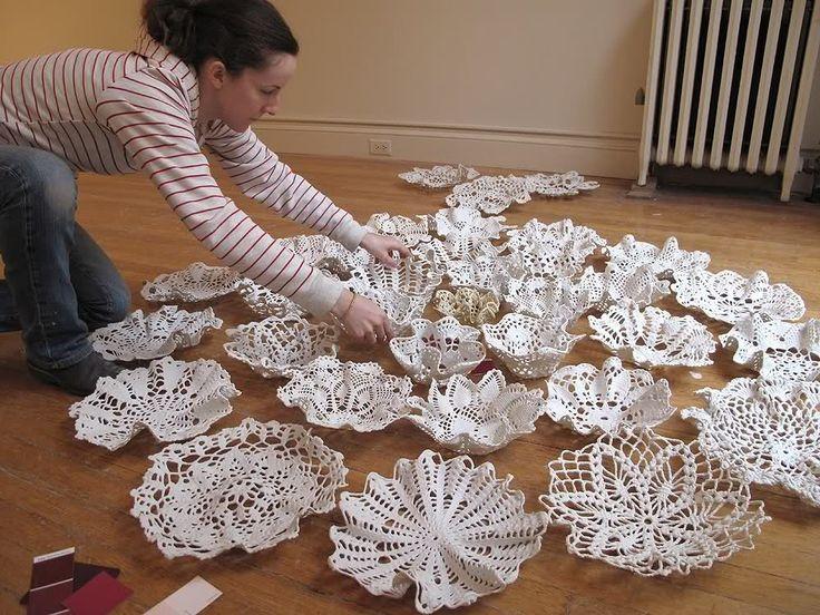 how to make doily bowls liquid porcelain then bake