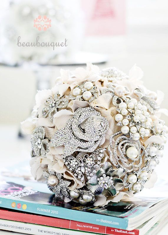Brooch Bouquet Rhinestone and Pearl Brooch Custom by beauBouquet, $100.00