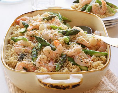 Shrimp Scampi with Asparagus and Couscous Casserole - a creamy dish ...