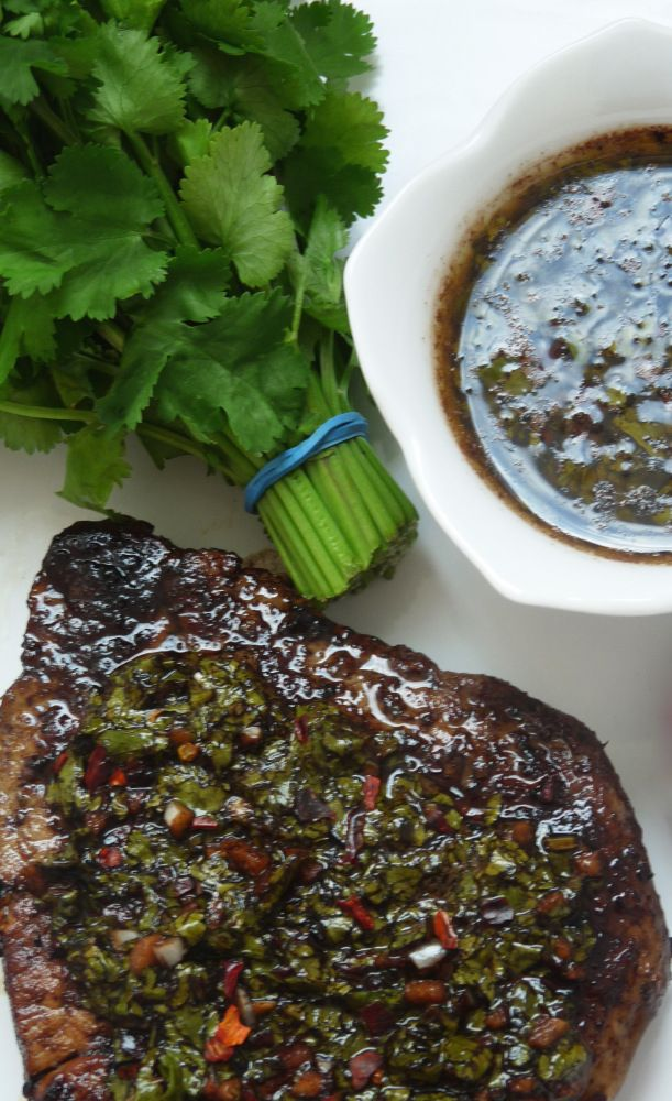 Beef rib-eye or top loin steaks with Chimichurri Sauce