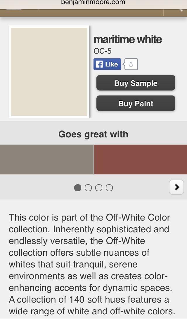 "Benjamin Moore paint ""Maritime White"" | WALLS & CEILINGS: Paint Color ..."