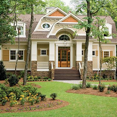 Exterior paint colors: 2009 Coastal Living Home in Seawatch: The exterior siding is Hardie Color Plus Siding in Autumn Tan by James Hardie. Other exterior selections are: Shutter color – Valspar 3002-9B Mocha Syrup Diamond shakes – Cabot Semi-transparent oil stain in Chestnut Brown Exterior trim color – Valspar 7002-3 Snowy Dusk Shingles - GAF 50-year Ultra, Barkwood