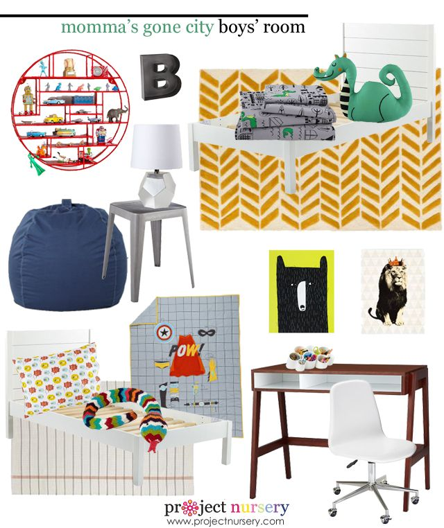Design board for @Jessica Shyba's shared boys room. {Love these @The Land of Nod picks!} #designboard #sharedroom #brothers #theoandbeau