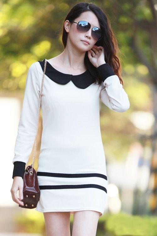 Modern style fall dress with peter pan collar block slim fit design