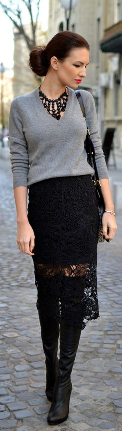 My Silk Fairytale | Street Style #fashion, #gray  #skirts