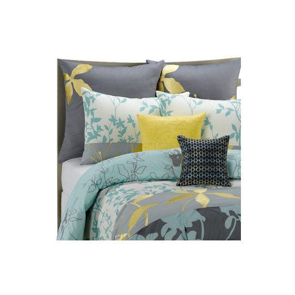 Gray Yellow Blue Bedding Bedroom Ideas Pinterest