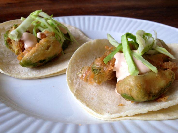 Beer Battered Fried Avocado Tacos Recipe — Dishmaps