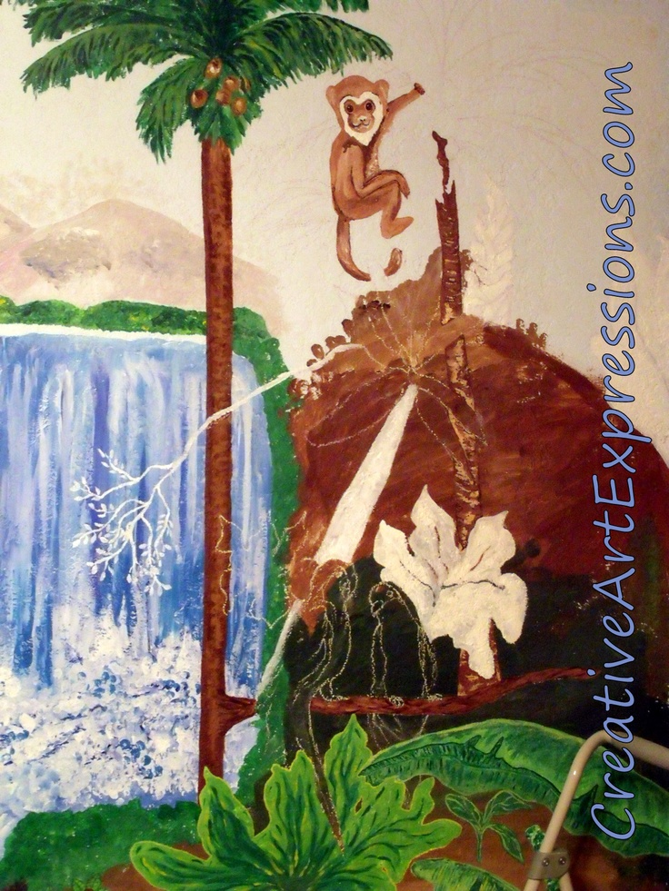 Pin by creative art expressions on cae rainforest mural in for Creative mural art