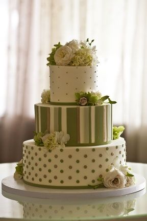 Butter-Frosted Wedding Cake, green and cream, stripes and dots...