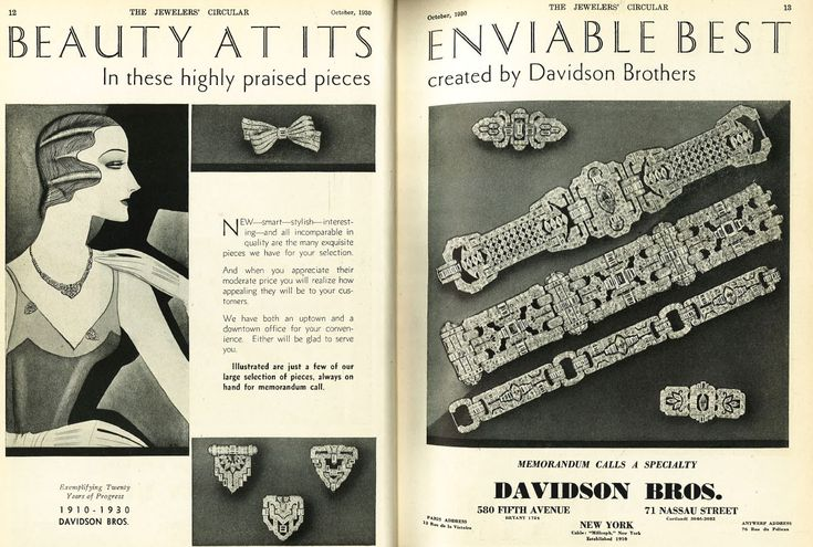 Cool jewelry ads from back in the day.  Check out those bracelets.