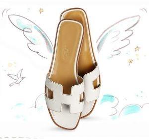 Hermes Oran womens sandals White calfskin.JPG
