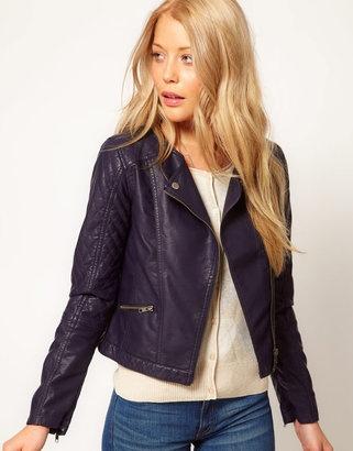Wear Navy Leather Look Biker Jacket | Jackets, Coats & Blazers | Pi