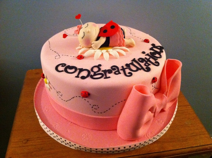 Ladybug themed baby shower cake