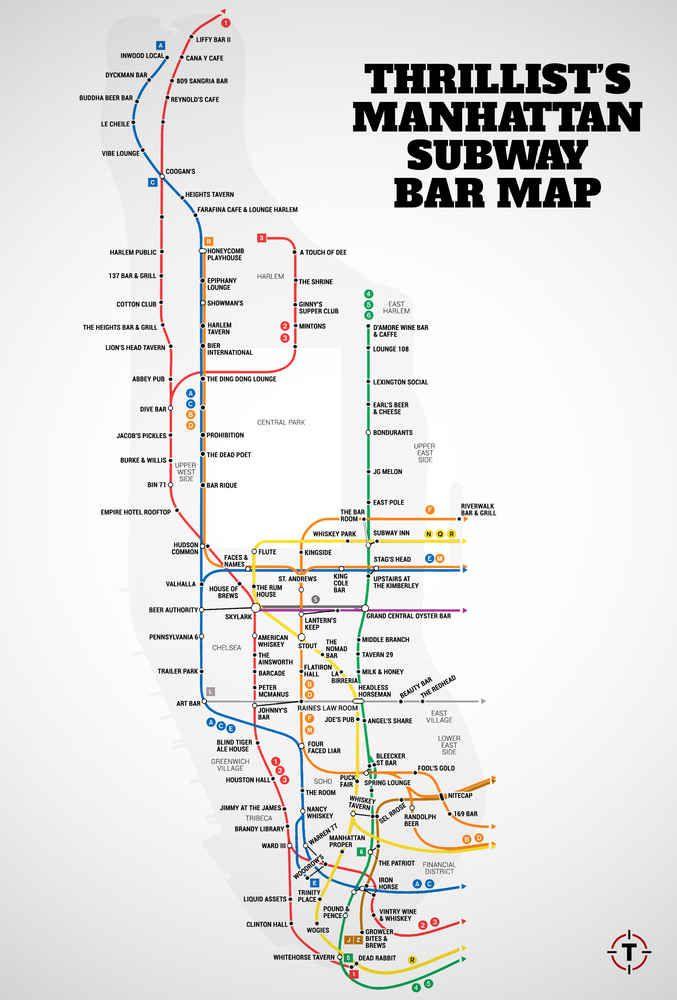 Manhattan39s Firstever Subway Bar Map