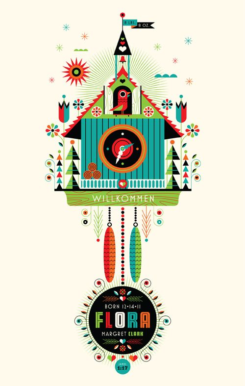 Birth announcement by Don Clark from Invisible Creature for his new little girl Flora. #screenprint