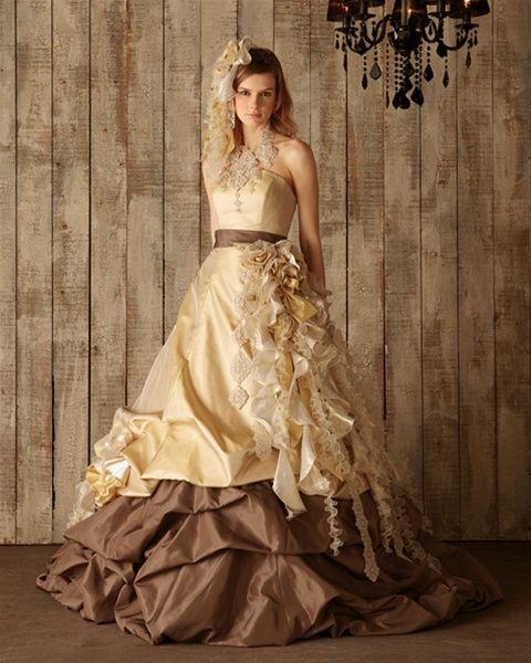 Chocolate brown and yellow gold wedding dress available for Brown dresses for wedding