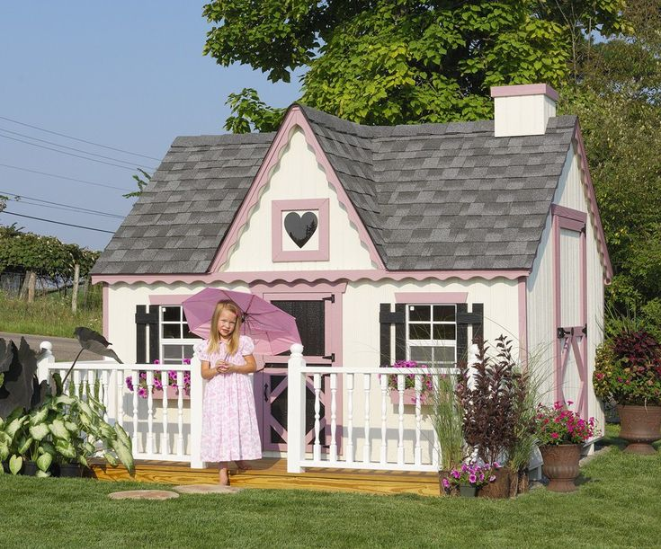 Victorian Backyard Floored Playhouse : The Amish Made Victorian Kids Outdoor Playhouse Kit  Pinecraftcom