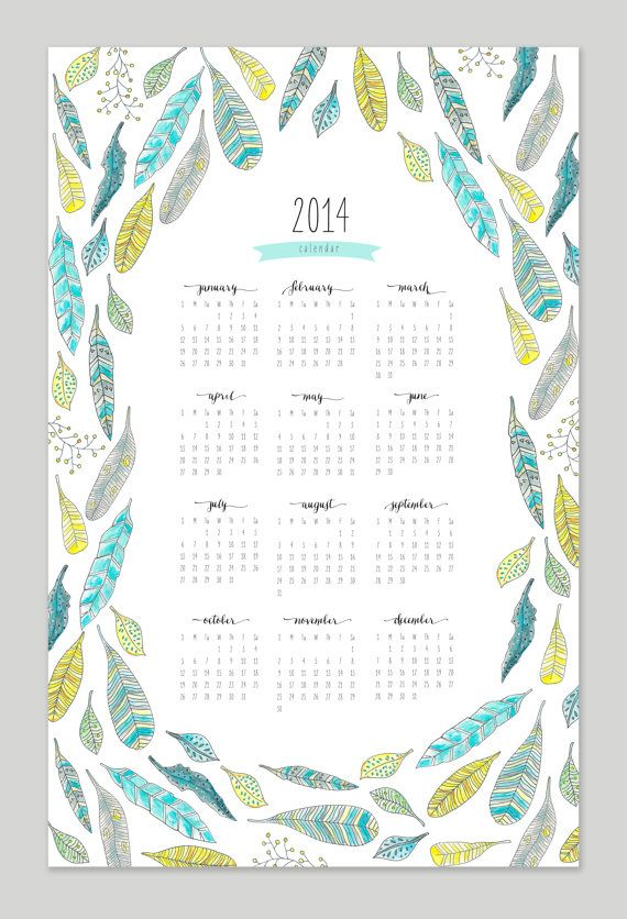 Printable Feather Calendar - 2014 Calendar - 11x17 Wall Calendar