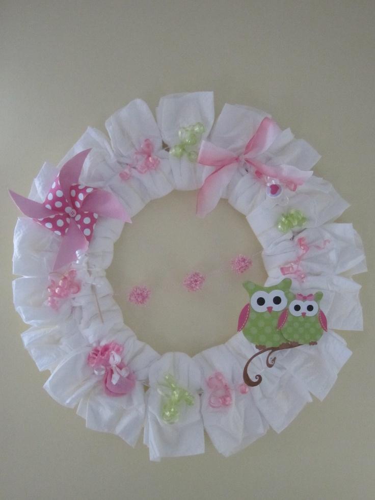 diaper wreath baby shower ideas pinterest
