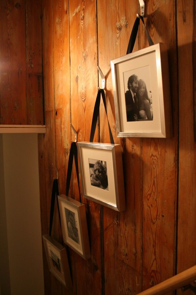 Pictures hung on ribbon Nifty Ideers Pinterest