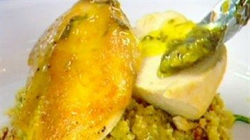 Sautéed chicken breast with ratatouille couscous and apple and lemon ...
