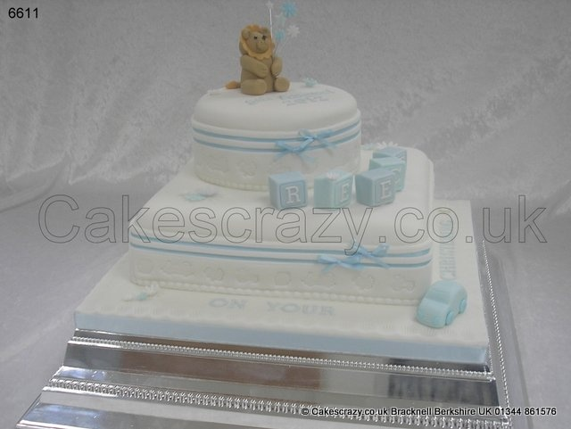 Square Christening Cake Images : Combination 2 tier christening cake, square base and round ...