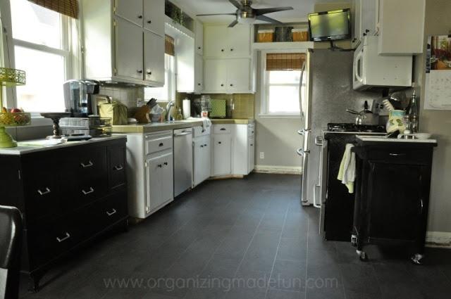 Pin by lisa chaddock on kitchen pinterest for Black lino kitchen flooring