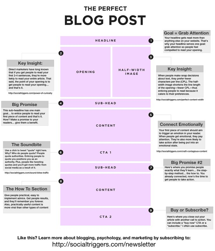 The Perfect Blog Post - infographic from Social Triggers- While not everything would work in this template, its a good reminder of the kind of post that works...