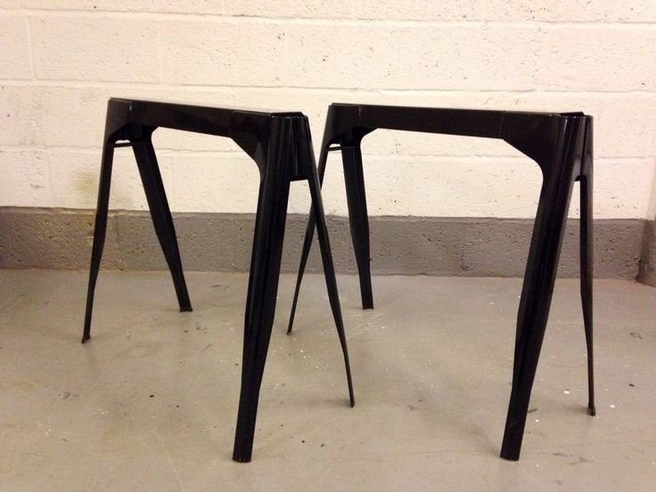 ... ** Tolix Metal Industrial Table Black French Trestle Legs Dining