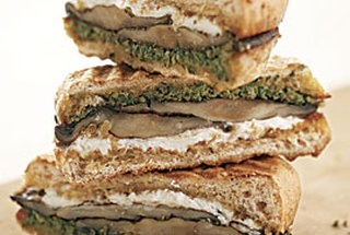Grilled portobello & Goat Cheese pesto sandwich