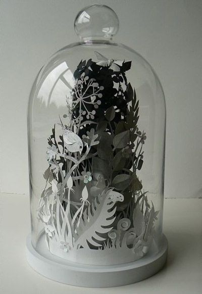 New papercut works from artist Helen Musslewhite. Each piece is handcut and placed inside a glass dome.