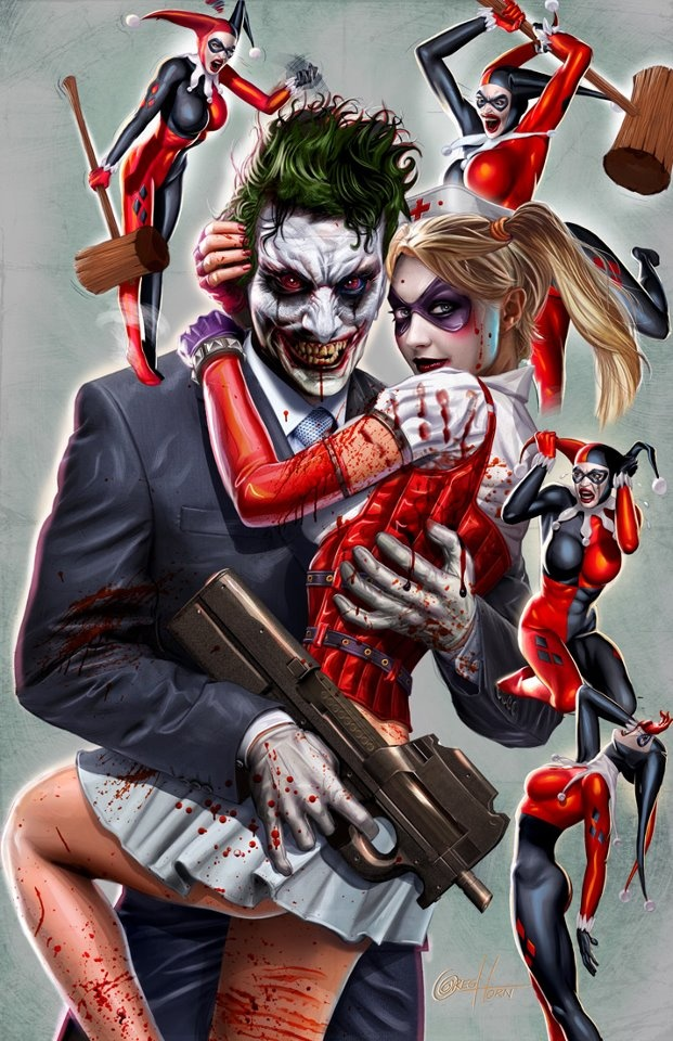 """HARLEY QUINN AND JOKER - This piece commemorates the old Harley Quinn costume. The fans were not happy with the new version, and this art shows the """"5 Stages of Grieving"""" starting at the upper left: Anger; Rage; Dispair; Hopelessness; and finally Acceptance is the big Harley in the middle!  I hope this helps you guys deal with your emotions…."""