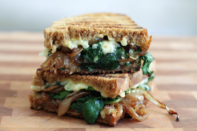 Caramelized Onion, Chard, and Gruyere Sandwich | Lattes & Leggings
